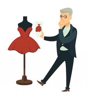 Designer vergleicht entwurfsbild mit fertigem kleid auf attrappe