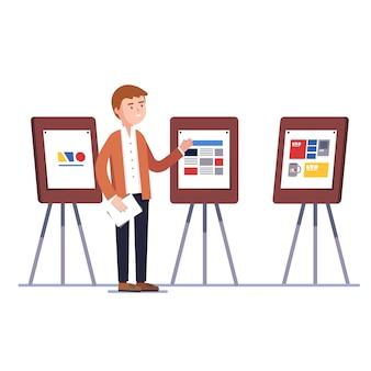 Designer zeigt identity branding design-projekt