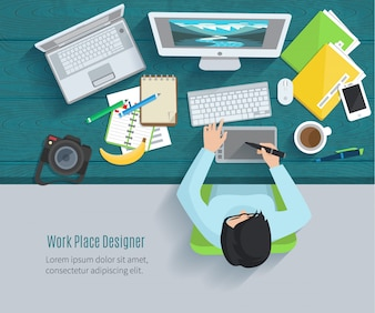 Designerarbeitsplatz flach mit Draufsichtfrauen bei Tisch und Designgeräten