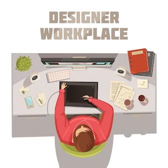 Designerarbeitsplatz-karikaturkonzept mit kaffeebüchern und computervektorillustration