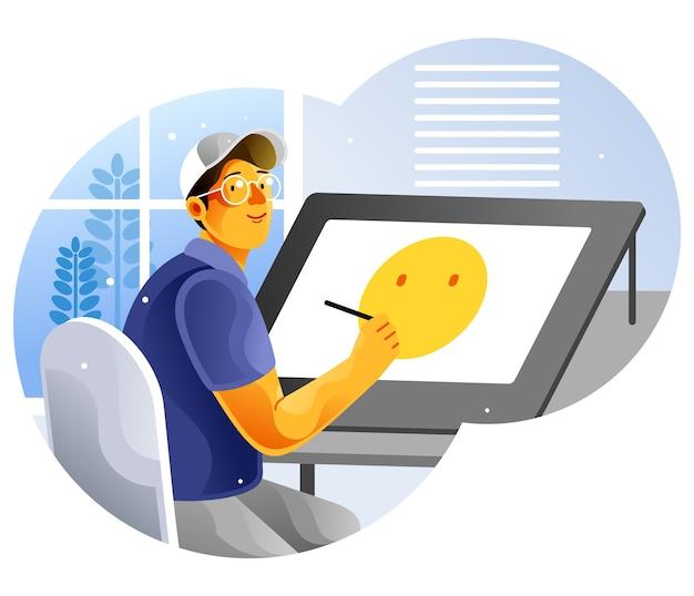 Designerzeichnung auf dem grafiktablett