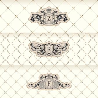 Designetiketten und horizontale rahmenverpackungen auf nahtlosem hintergrund