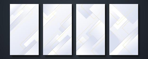 Designhintergründe für social-media-banner. set von bannergeschichten und post-frame-vorlagen. vektorabdeckung. mockup für persönlichen blog oder shop. layout für werbung