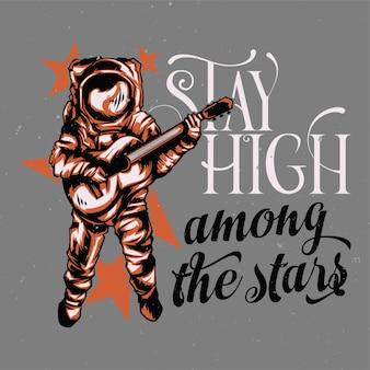 Designillustration des astronauten mit gitarre