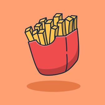 Designillustration von sehr leckeren pommes frites. isoliertes lebensmitteldesign.
