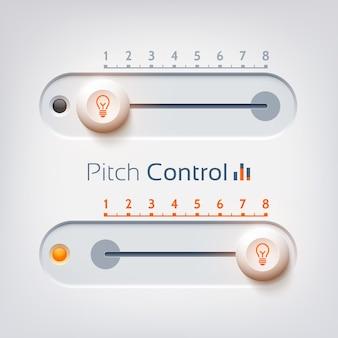 Designkonzept der benutzeroberfläche mit horizontaler pitch-steuerung