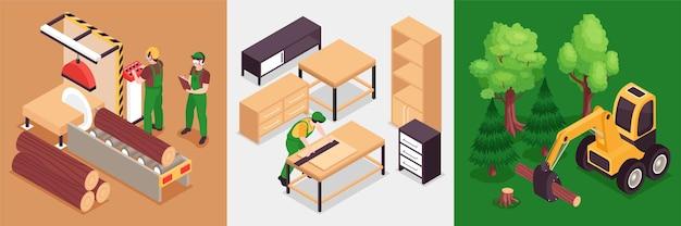 Designkonzept der isometrischen holzmöbelproduktion mit quadratischer illustration
