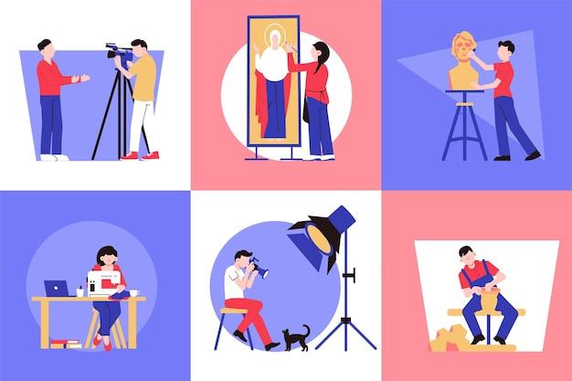 Designkonzept der kreativen berufe des künstlers mit quadratischer illustration