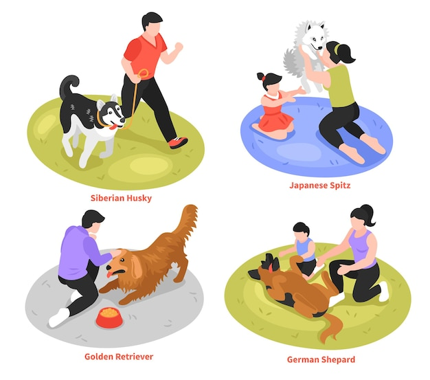 Designkonzept des isometrischen hundebesitzers mit verschiedenen hunderassenillustration