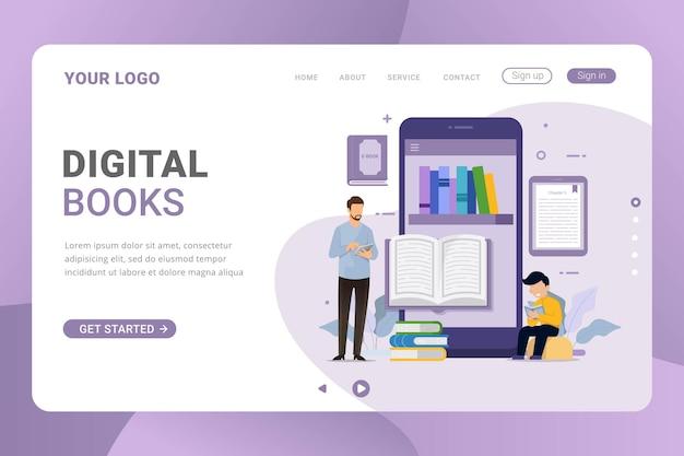 Designkonzept für elektronische e-books und e-book-reader für landingpage-vorlagen