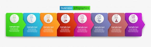Designkonzept für geschäftsinfografiken mit 8 schritten oder optionen