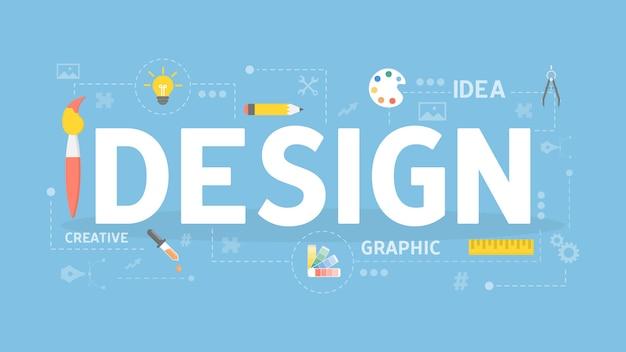 Designkonzeptillustration. bunte symbole mit wörtern.