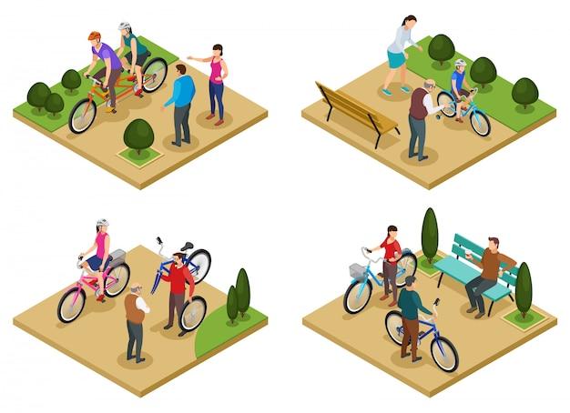 Designkonzeptsatz der sommerferien 2x2 von isometrischen zusammensetzungen mit leuten, die fahrräder in der stadtparkvektorillustration reiten