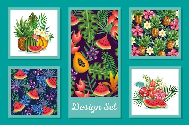 Designsatz früchte mit blumen und blatttropen