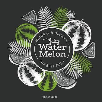 Designschablone für wassermelone und tropische blätter. gravierter obstrahmen. retro botanisches banner.