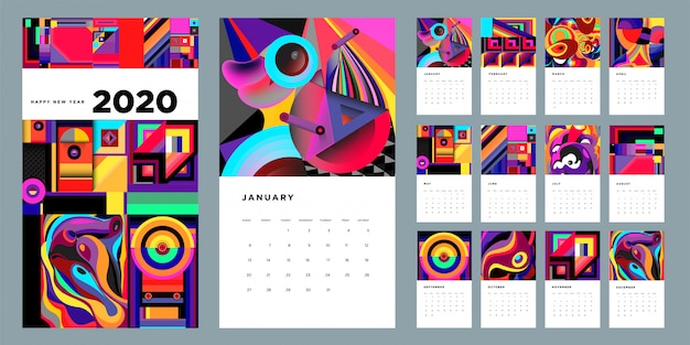 Designschablone mit 2020 kalendern mit bunter abstrakter flüssigkeit und geometrischem hintergrund