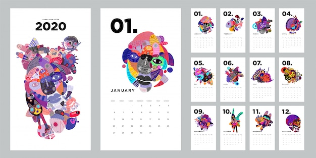 Designschablone mit 2020 kalendern mit bunter abstrakter gekritzelillustration