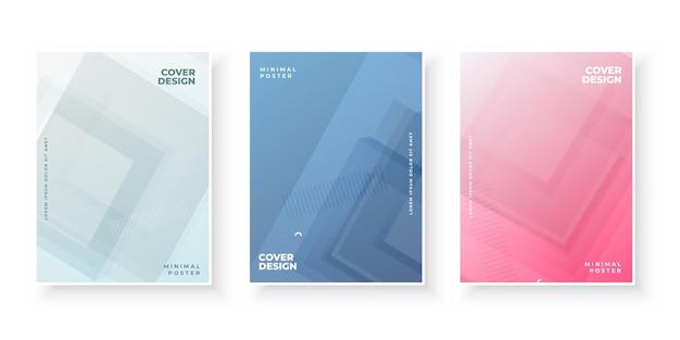 Designset mit bunten farbverlaufsabdeckungen für broschüre