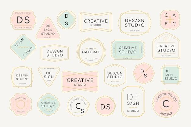 Designset mit minimalem logo-abzeichen