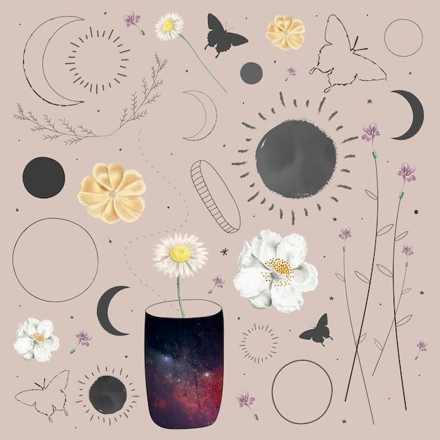 Designvektor für die sammlung von floralen und astronomischen elementen