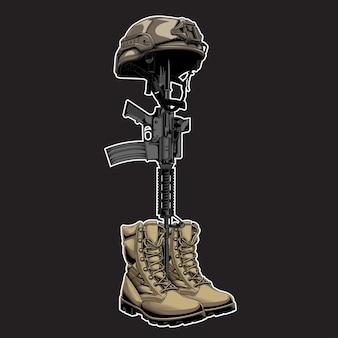Designvektor gefallener soldat im untergrund schwarz