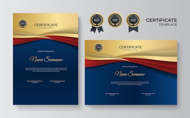 Designvorlage für anerkennungszertifikate in blauer, roter und goldener farbe. luxuriöses business-diplom-layout für den ausbildungsabschluss oder den kursabschluss. vektorhintergrundillustration