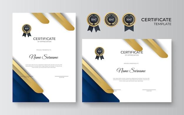 Designvorlage für anerkennungszertifikate in blauer und goldener farbe. luxuriöses business-diplom-layout für den ausbildungsabschluss oder den kursabschluss. vektorhintergrundillustration