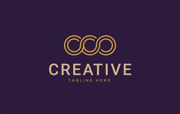 Designvorlage für das triple infiniti-logo die drei kreislinien sind unendlich verbunden