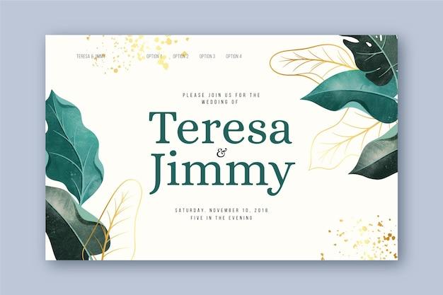 Designvorlage für die hochzeitszielseite mit botanischer illustration