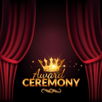 Designvorlage für die preisverleihung. preisverleihung mit roten vorhängen. performance premiere zeremonie design