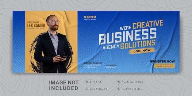 Designvorlage für digitale geschäftsmarketingförderung facebook-cover live-webinar für digitales marketing