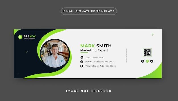 Designvorlage für eine kreative e-mail-signatur oder eine persönliche social-media-e-mail-fußzeile