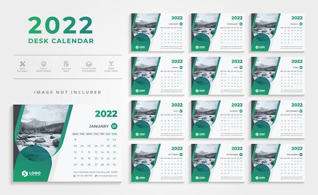 Designvorlage für einen sauberen schreibtischkalender