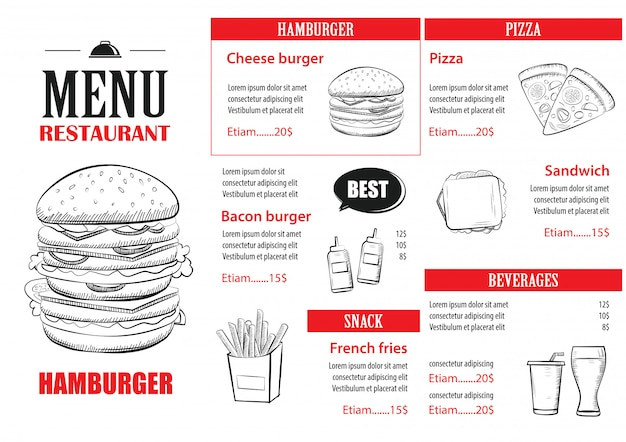 Designvorlage für fast-food-menüs.