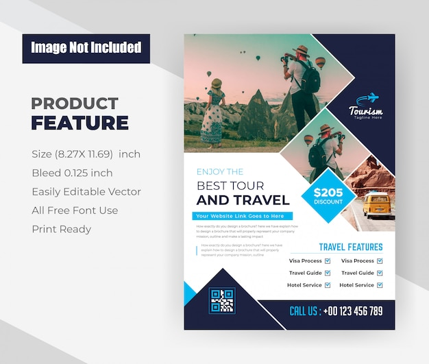 Designvorlage für flyer von tours & travel agency