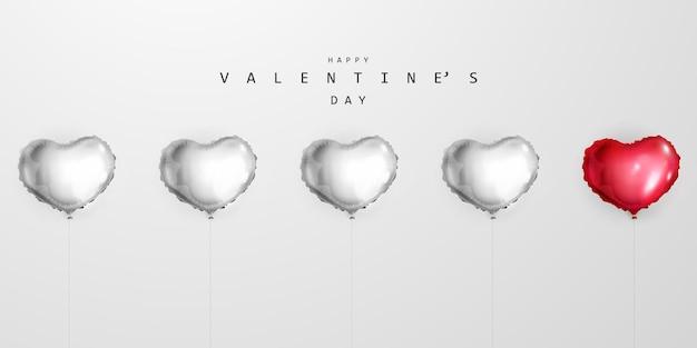 Designvorlage für herzballons. fröhlichen valentinstag