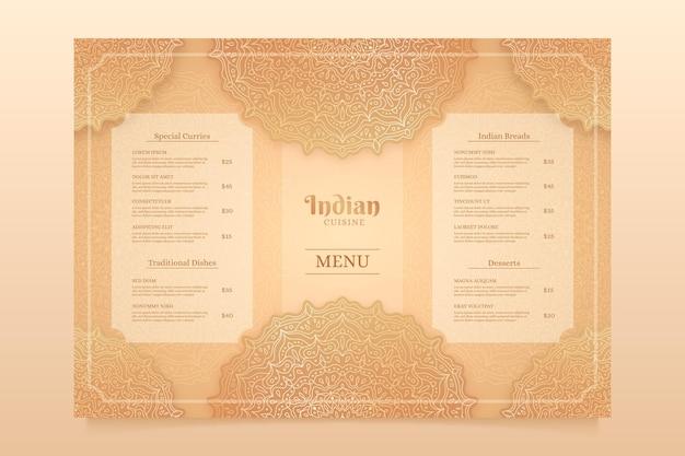 Designvorlage für indisches menü mit farbverlauf