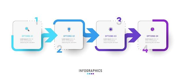 Designvorlage für infografik-etiketten mit symbolen und 4 optionen oder schritten