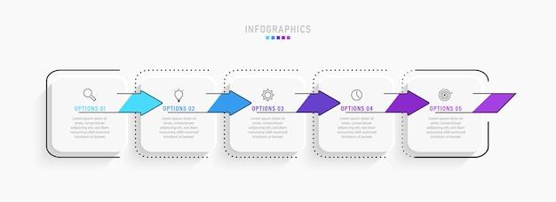 Designvorlage für infografik-etiketten mit symbolen und 5 optionen oder schritten.