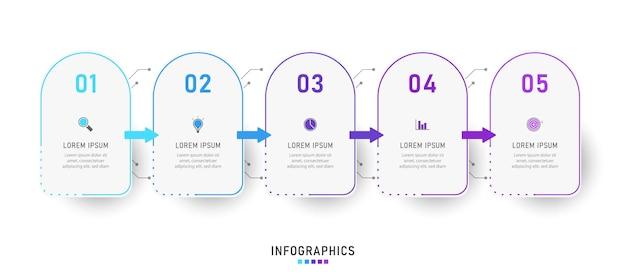 Designvorlage für infografik-etiketten mit symbolen und 5 optionen oder schritten