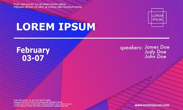 Designvorlage für konferenzeinladungen, flyer-layout. geometrischer hintergrund. minimales abstraktes cover-design. kreative bunte tapete. trendiges farbverlaufsplakat. vektor-illustration.
