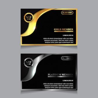 Designvorlage für luxuriöse vip-mitgliedskarten in gold und platin platinum