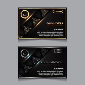 Designvorlage für luxuriöse vip-mitgliedskarten in gold und platin