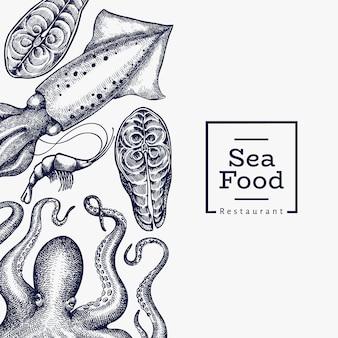 Designvorlage für meeresfrüchte. hand gezeichnete meeresfrüchteillustration. lebensmittelbanner im gravierten stil. retro meerestiere hintergrund