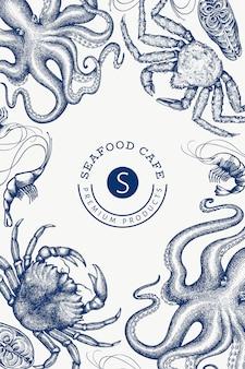 Designvorlage für meeresfrüchte. lebensmittelbanner im gravierten stil. retro meerestiere hintergrund