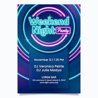 Designvorlage für neon-partyplakate