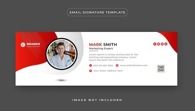 Designvorlage für premium-e-mail-signatur oder e-mail-fußzeile und persönliches social-media-cover