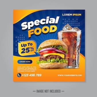 Designvorlage für social-media-banner für restaurant-essen
