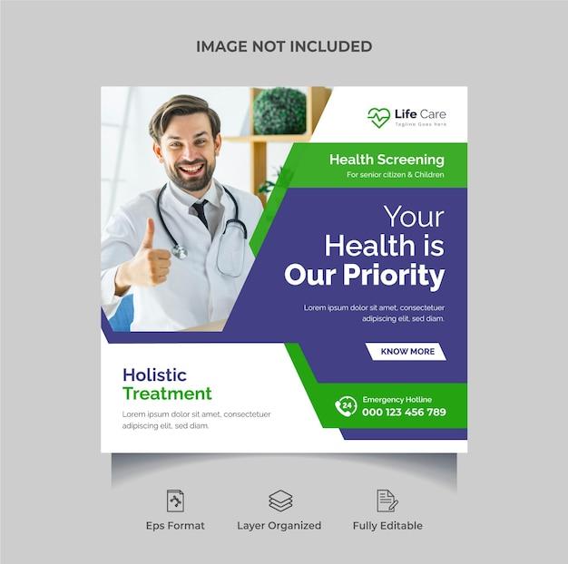 Designvorlage für social-media-posts für medizin und gesundheitswesen oder bearbeitbares quadratisches flyer-banner