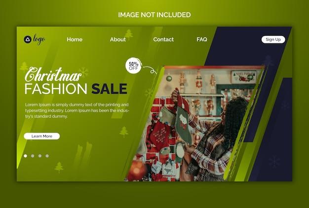 Designvorlage für weihnachtsverkauf und rabatt-landingpage und webbanner